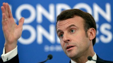 Френският президент Еманюел Макрон в Лондон.