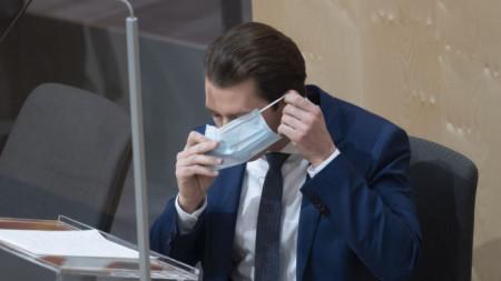 Австрийският канцлер Себастиан Курц си слага маска в долната камара на парламента на 3 април.