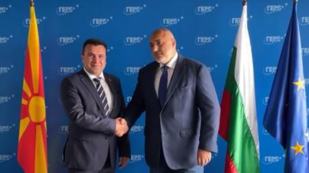 Бойко Борисов и Зоран Заев в централата на ГЕРБ в София.
