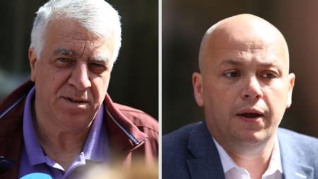 Румен Гечев и Александър Симов говорят пред медии преди Националния съвет на БСП в София.