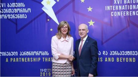 Ekaterina Zaharieva me ministrin e jashtëm të Gjeorgjisë David Zalkaliani