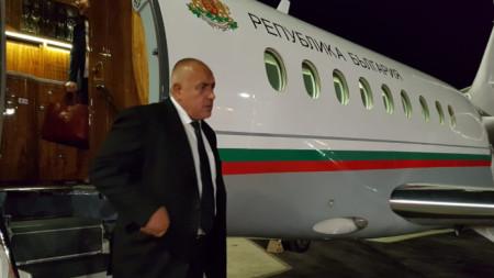 Премиерът Бойко Борисов при пристигането си в Солун.