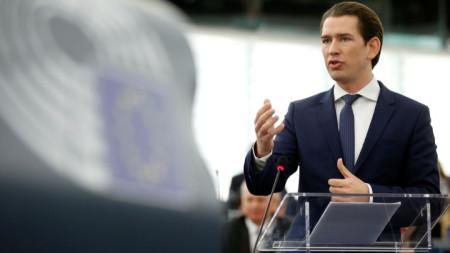 Австрийският канцлер Себастиан Курц говори пред Европейския парламент в Страсбург.