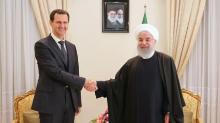 Башар Асад и Али Хаменей (вдясно) на срещата им в Техеран.