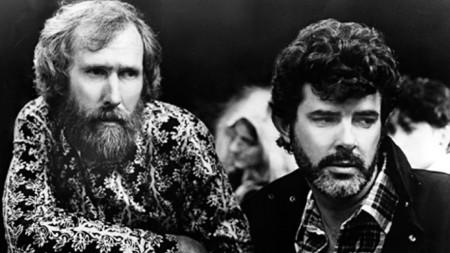 Джим Хенсън (вляво) и Джордж Лукас, 1986 г.
