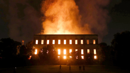 Пожарът в Националния музей на Бразилия в Рио де Жанейро