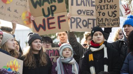 Традиционната петъчна стачка на Грета Тунберг този път бе в центъра на Давос, където се провеждаше Световния икономически форум.