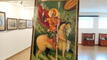 Икона на св. Мина, за която събираме средства за  реставрация
