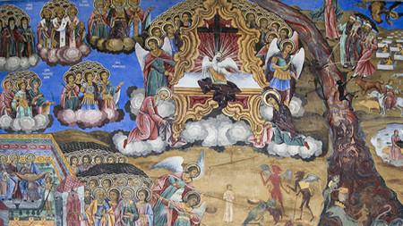"""Страшният съд - стенопис от екзонартекса на църквата """"Рождество Богородично"""" в Рилския манастир."""