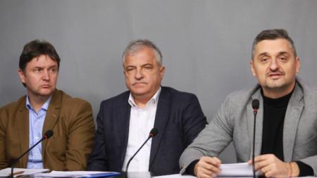 Кирил Добрев, членове на БСП и кметове на общини дадоха пресконференция в централата на партията днес, 27 декември.