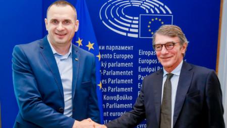 Олег Сенцов с председателя на ЕП Давид Сасоли