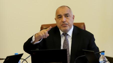 Премиерът Бойко Борисов жестикулира на заседанието на Министерски съвет.