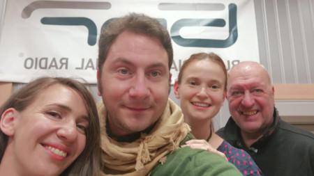 """Калина Станева, Светозар Кнезовски, Елизабет Марангозова и Емил Янев в студиото на програма """"Христо Ботев"""""""