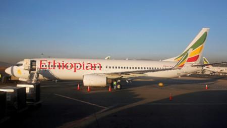 """""""Боинг 737""""  на етиопската авиокомпания """"Етиопиън еърлайнс"""""""