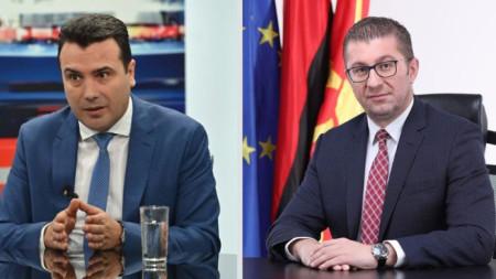 Лидерът на СДСМ Зоран Заев (вляво) и на ВМРО-ДПМНЕ Християн Мицкоски.