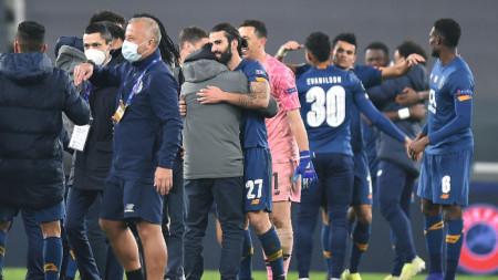 Футболистите на Порто ликуват след края на мача срещу Ювентус.