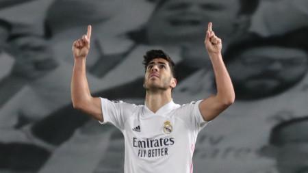 Марко Асенсио празнува попадението си за 2:0 за Реал.