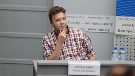 Роман Протасевич на пресконференция в Минск