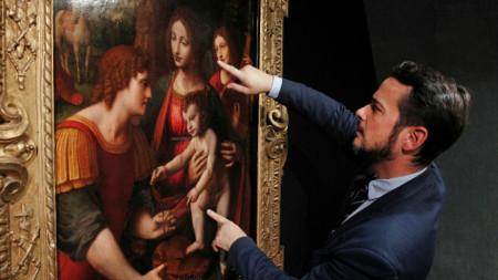 """Картината """"Мадоната с Младенеца, Свети Георги и ангел музикант"""" на Бернардино Луини."""