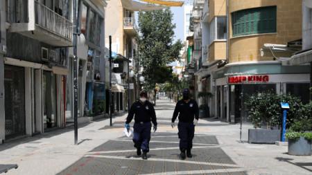 Полицейски патрул в Никозия, 29 март 2020 г.