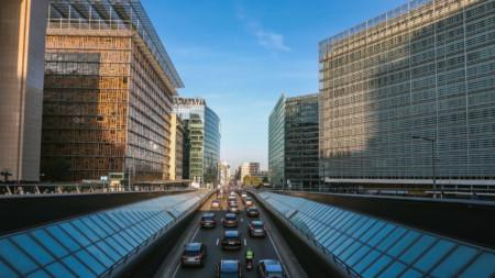 Пътното движение в европейския квартал на Брюксел.