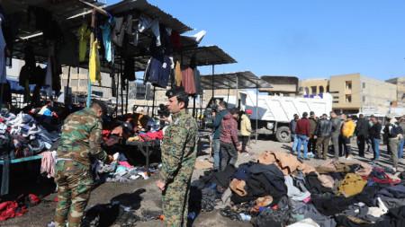 Мястото на атаката в Багдад - 21 януари 2021 г.