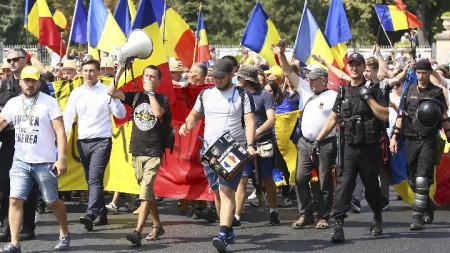 Демонстранти в молдовската столица отправиха призиви за обединение с Румъния.