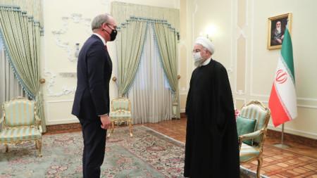 Ирландският министър на външните работи Саймън Ковини (вляво) по време на срещата си с президента на Иран Хасан Рохани