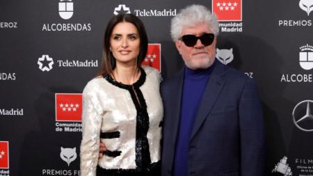 Пенелопе Круз и Педро Алмодовар на връчването на наградите