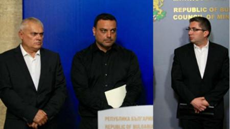Министрите Валентин Радев, Ивайло Московски Николай Нанков (от ляво надясно)