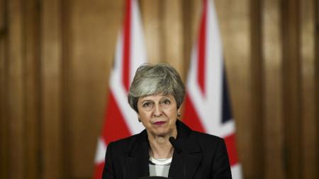 Британският премиер Тереза Мей по време на специалното си обръщение на 21 март.