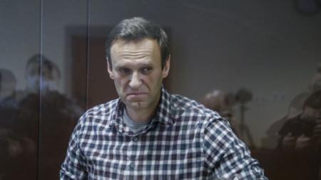 Алексей Навални при произнасянето на присъдата срещу него през февруари 2021 г. от руски съд.