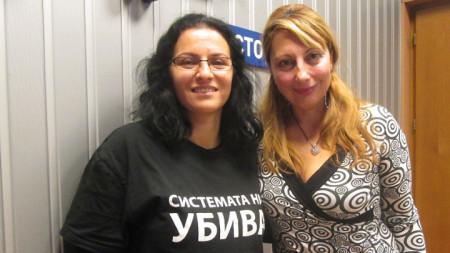 """Мая Стоицева (вляво) и Мария Мира Христова в студиото на програма """"Христо Ботев"""""""