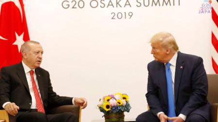 Реджеп Ердоган и Доналд Тръмп на срещата на Г-20 в Осака по-рано тази година.