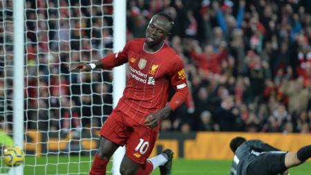 Садио Мане донесе победата на Ливърпул срещу Уулвърхемптън