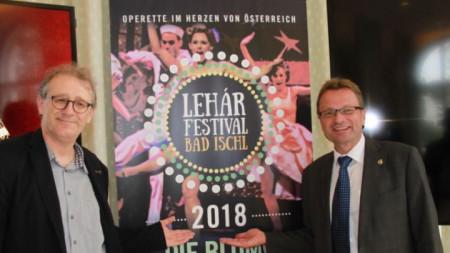 Новият художествен ръководител на Лехар-фестивала в Бад Ишъл  Томас Енцингер (вляво) и кметът Ханес Хайде