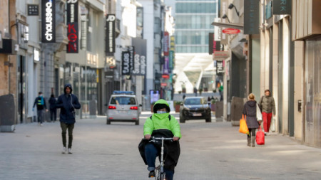 Основните търговски улици в Брюксел са пусти. 30 март 2020 г.