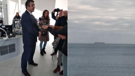 """Директорът на """"Гранична полиция"""" главен комисар Светлан Кючуков говори пред журналисти за случая с танкера """"Бадр"""", който бе преименуван на """"Бдин""""."""