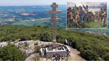 """Monumenti në majën Okollçica dhe """"Çeta e Botevit zbret në bregun e lumit Danub"""", piktor: Dimitër Gjuxhenov"""