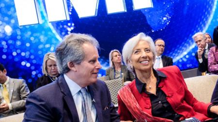 Първият заместник-ръководител на Международния валутен фонд Дейвид Липтън и управляващия директор на фонда Кристин Лагард.