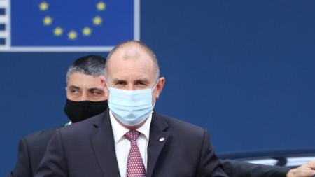 Президентът Радев пристига за срещата на върха на ЕС в Брюксел, 25 юни 2021 г.