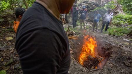 Индонезийски служители на остров Ява изгарят прилепи, за да не се разпространява вируса, причиняващ Covid-19. Март 2020 г.
