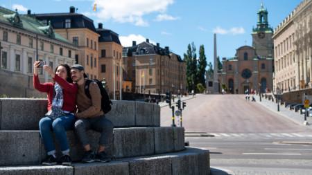 Туристи в центъра на Стокхолм, 22 юли 2020 г.