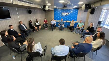 Лидерът на ГЕРБ Бойко Борисов на среща с младежки активисти на партията