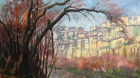 """Фрагмент от """"Велико Търново"""" - картина на Борис Денев (1883–1969). Авторът е включен в изложбата """"Зимни акценти"""""""