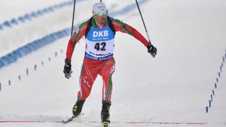 Владимир Илиев финишира на индивидуалната дисциплина 20 километра на Световното първенство по биатлон в Йорсерсунд, Швеция.