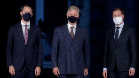 Александер де Кро (вляво) и Пол Манет (вдясно) на среща с краля на Белгия Филип - Брюксел, 28 септември 2020