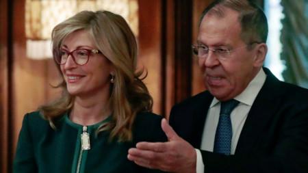 Екатерина Захариева с руския си колега Сергей Лавров.