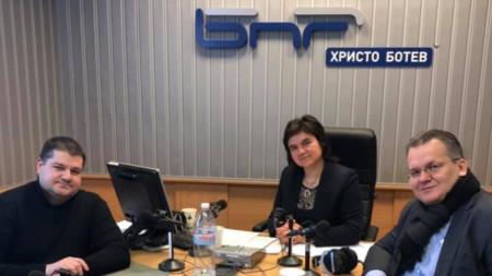 Доброслав Димитров, Нина Цанева и Любомир Станиславов (от ляво надясно)