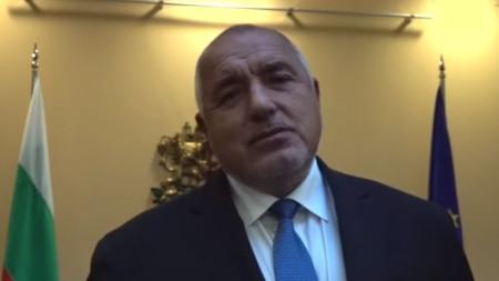 Бойко Борисов на кадър от видеото на БНТ, публикувано във Фейсбук профила на премиера.